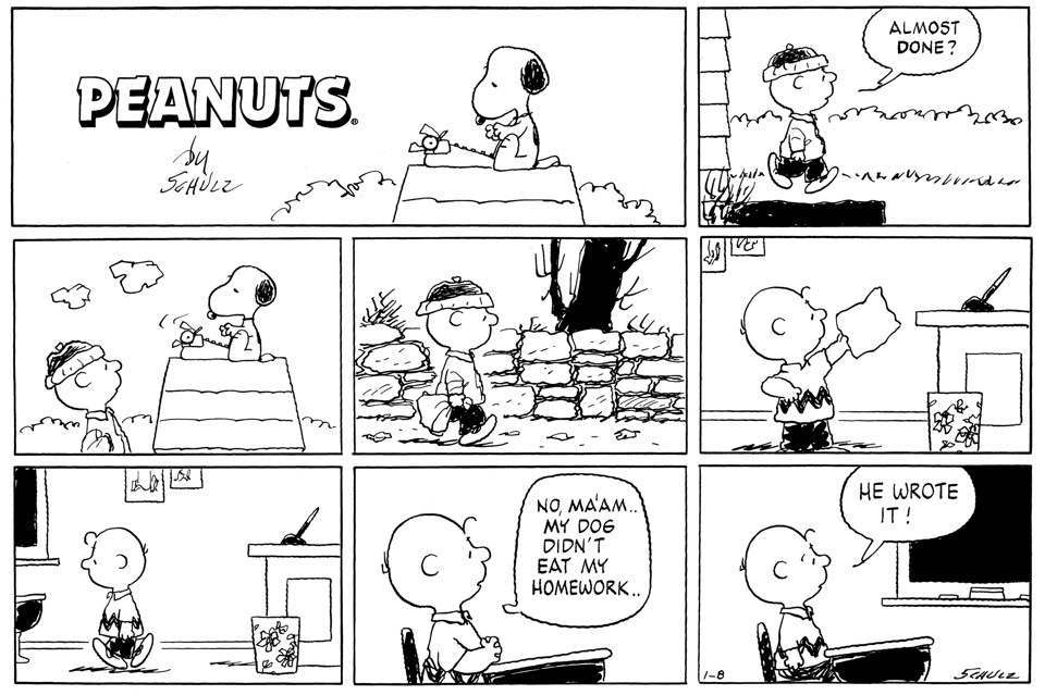 comic peanuts wrote strip the who