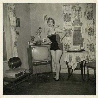 Found Photos: Mid-Century People Standing By Modern TVs