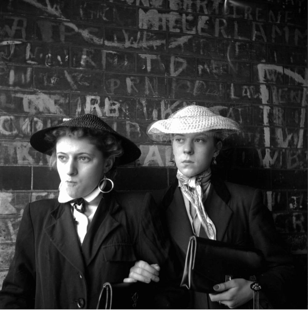 Photo by Ken Russell - January 1955 Pat Wiles and Iris Thornton wearing coolie hats. ©2006 TopFoto/Ken Russell