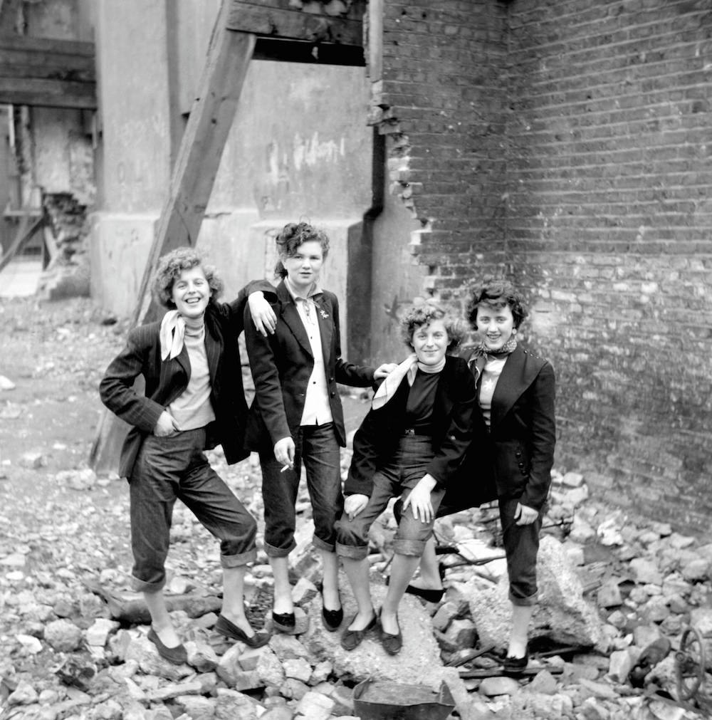 "Rock Steady ©2006 TopFoto/Ken Russell Photo by Ken Russell, January 1955 From a series: ""The Last of the Teddy Girls"" Elsie and Rose Hendon with Mary Toovey and Jean Rayner on an East End bombsite."