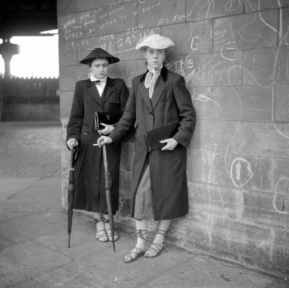 Photo by Ken Russell - January 1955 The last of the Teddy Girls Pat Wiles and Iris Thornton, aged 17 from Plaistow, showing off their lace up espadrilles, a favourite with teddy girls. ©2006 TopFoto/Ken Russell