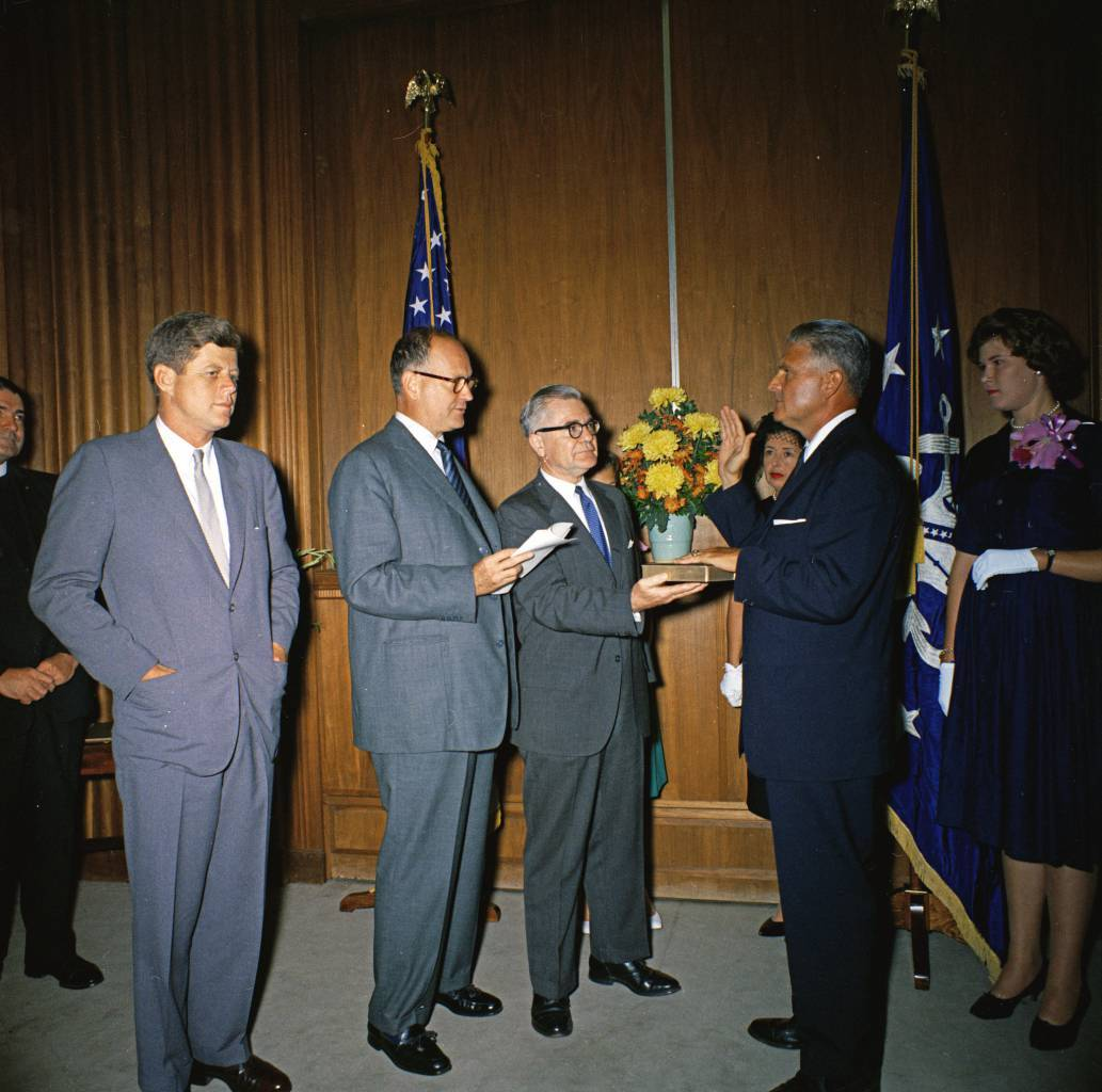 President John F. Kennedy and Guests at a Swearing-In Ceremony for Secret Service Director James J. Rowley