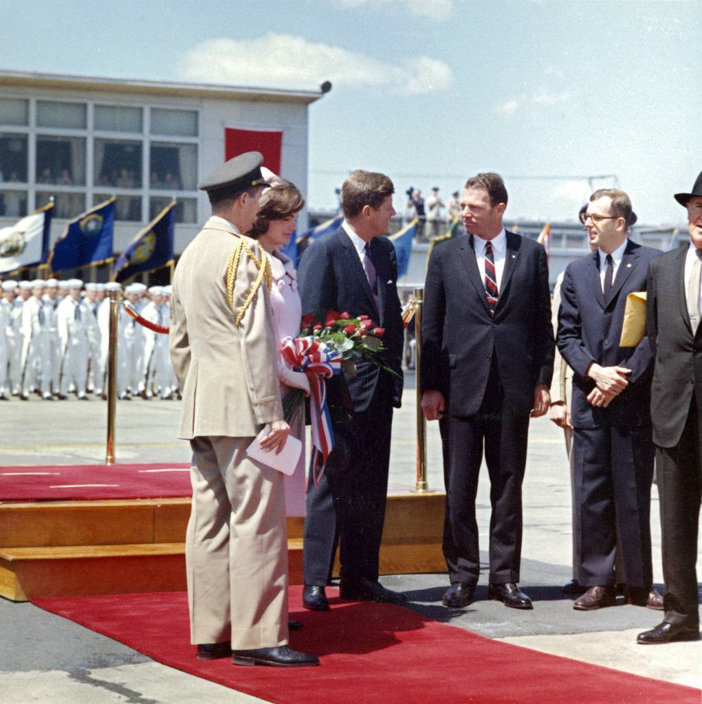 Original Caption: President John F. Kennedy and Others Await Arrival of Habib Bourguiba Sr., President of Tunisia, and His Wife, Moufida Bourguiba