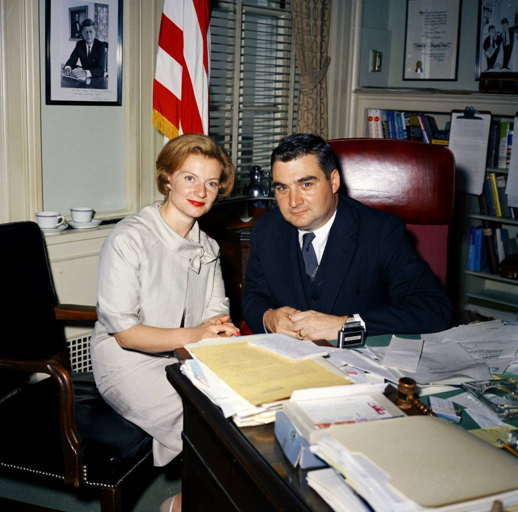 Press Secretary Pierre Salinger with Visitor