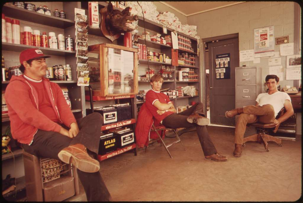 Interior of a Local Gas Station in Leakey, Texas, During the Noon Hour, near San Antonio, 05/1973