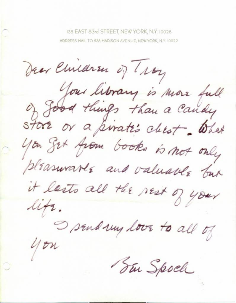 Children of TRoy letter library dr spock