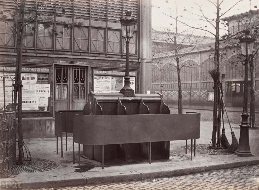 6 urinal stalls slate. Halles plants, Paris First. 1875.