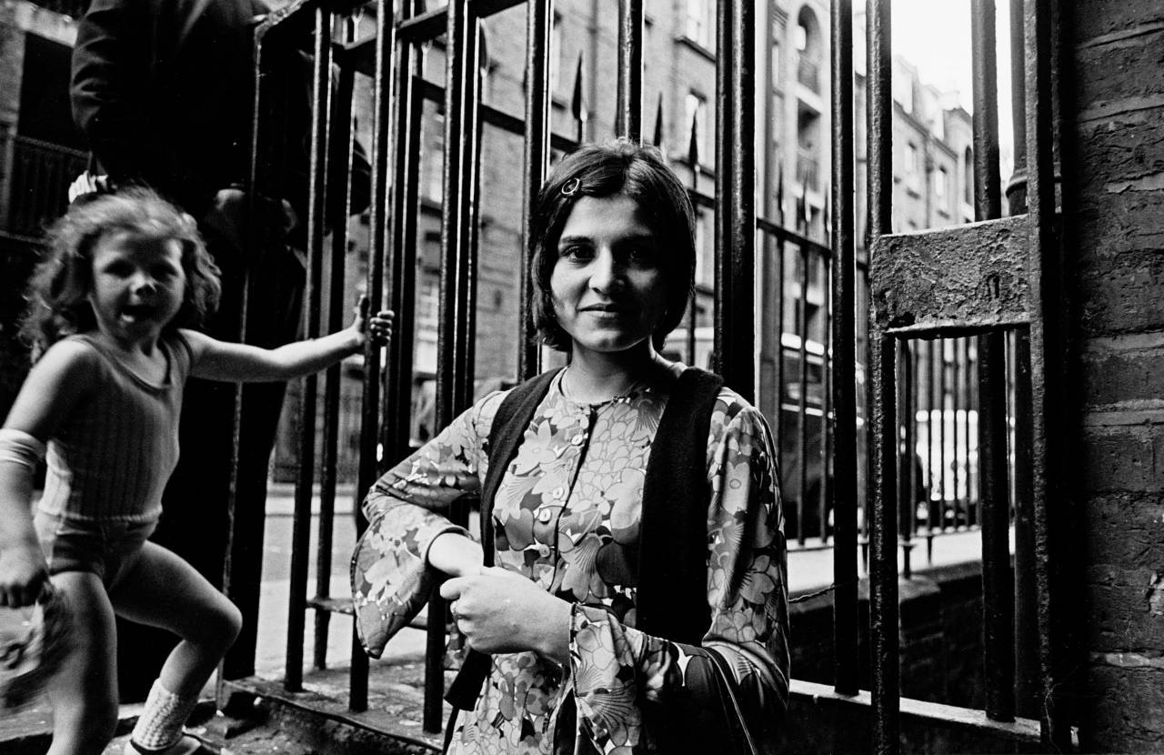 At the entrance to the Rothschild Dwellings, Whitechapel 1969