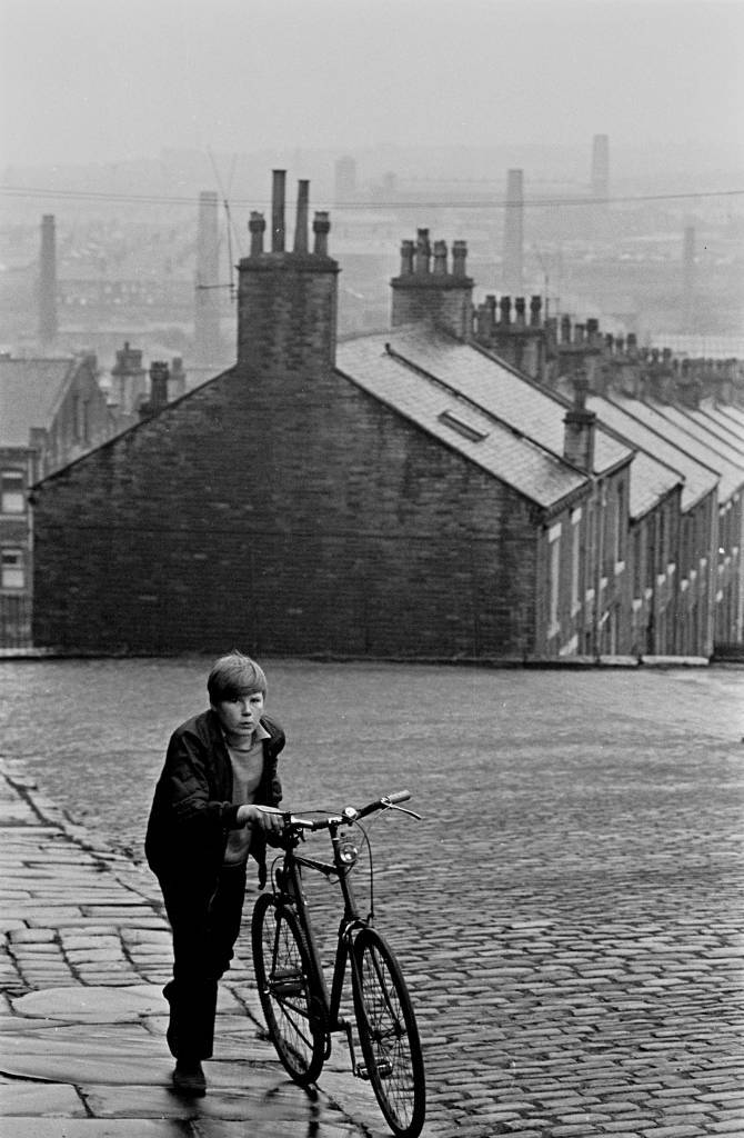 Bot and bicycle on a Bradford hill 1969