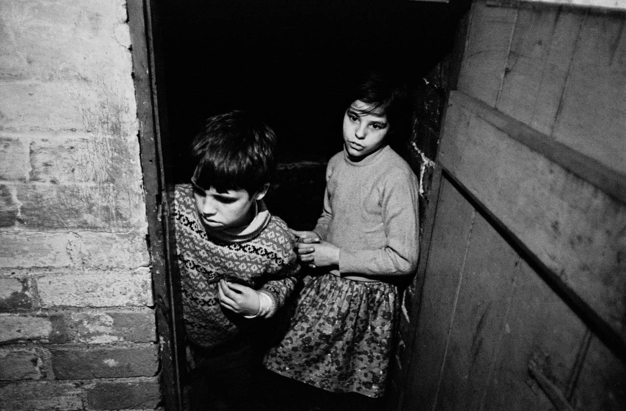 Brother and sister in cellar of their Bradford house, 1969