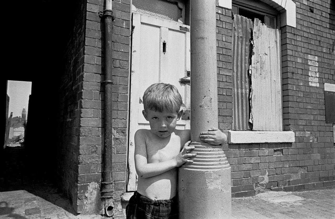 Child living in slum area of Birmingham 1969
