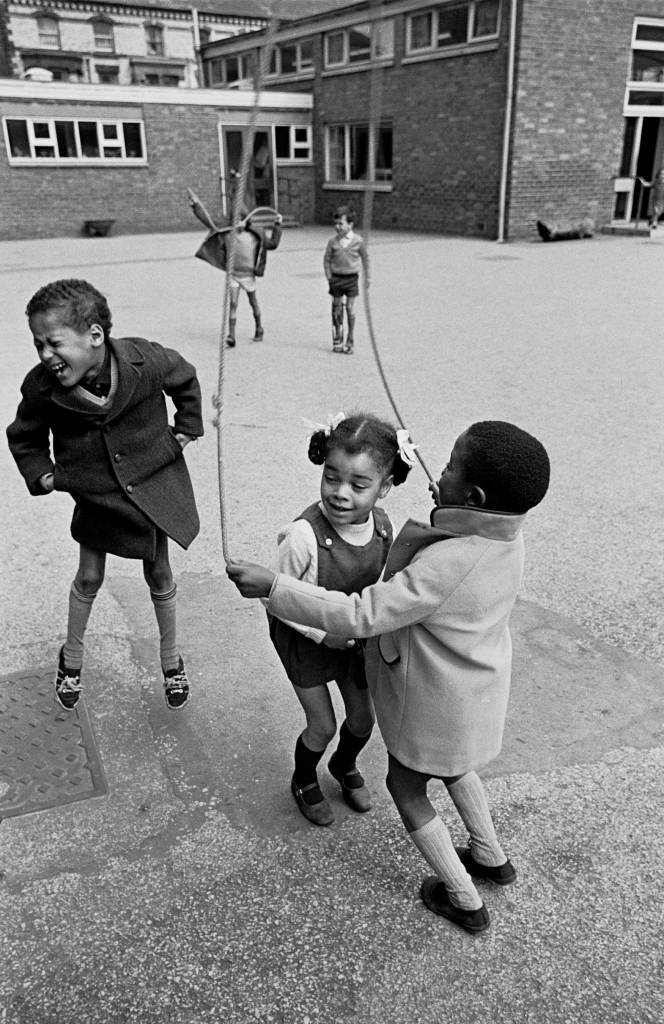 Children in playground of Educational Priority Area school, 1969