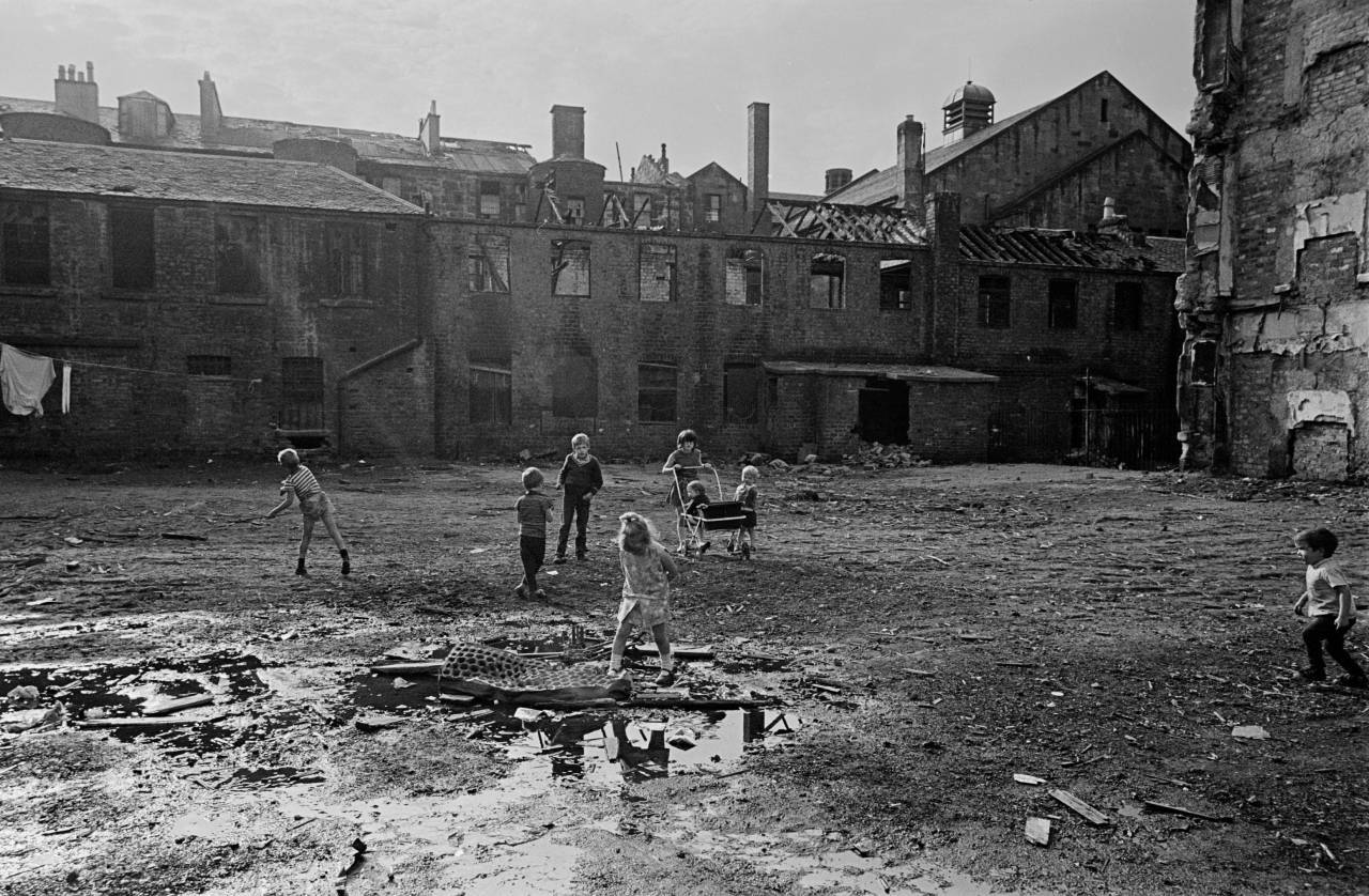 Children playing in a Gorbals tenement courtyard 1970