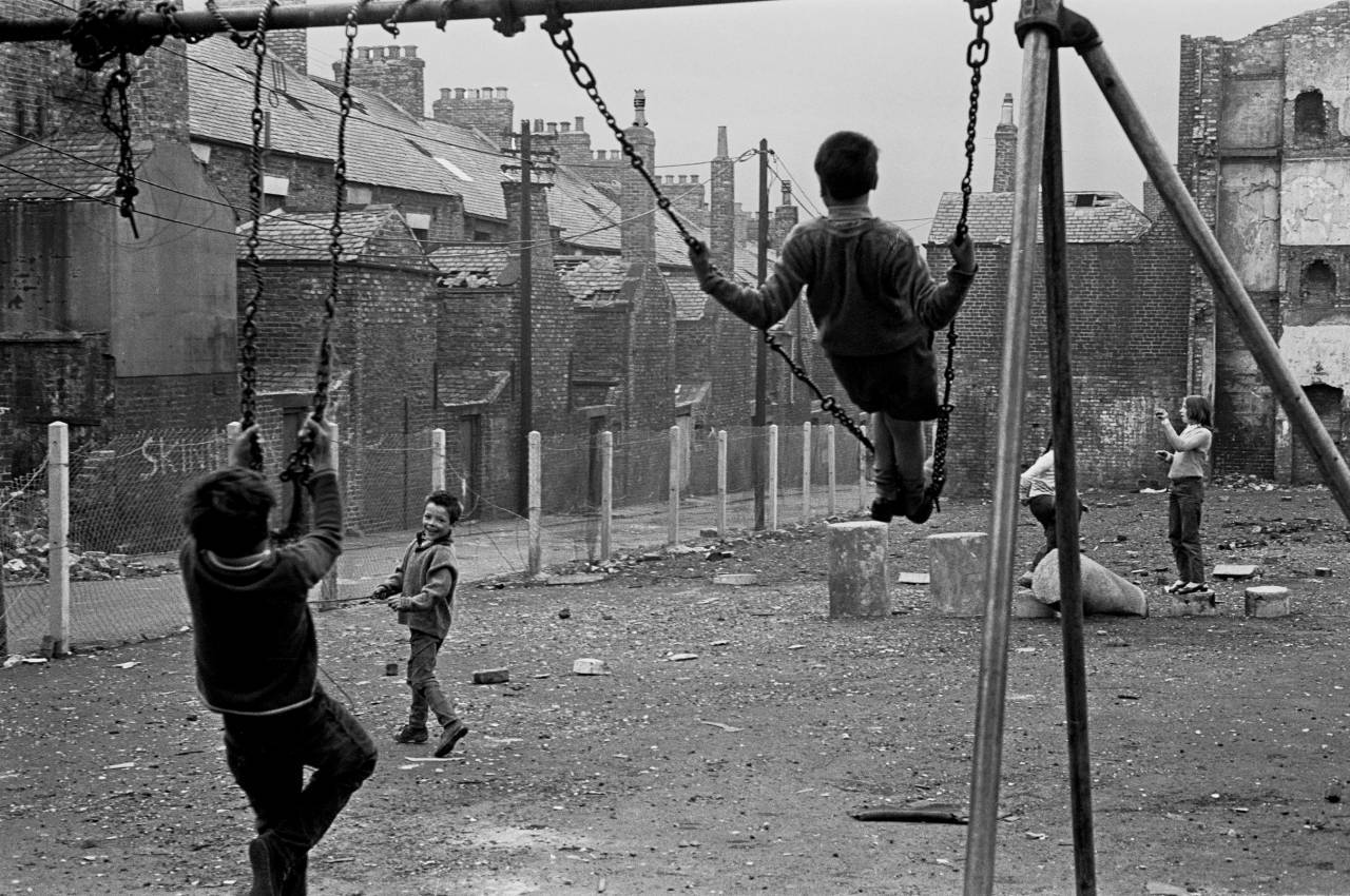 Children playing in a derelict playground, Newcastle upon Tyne 1971