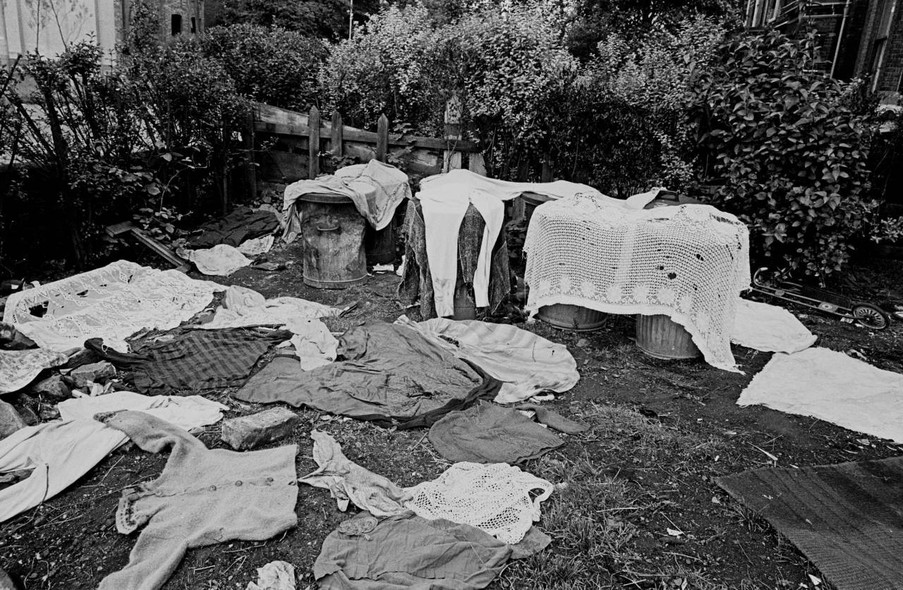Clothes drying in garden of Moss Side multi let 1969