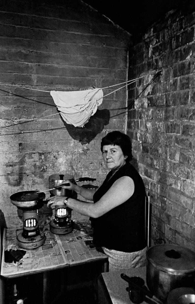 Cooking on primus stoves, Balsall heath 1969