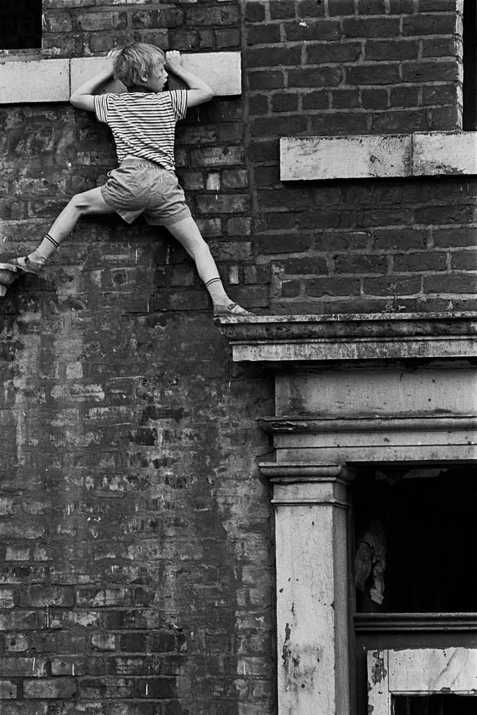Dangerous play in unsecured derelict houses Newcastle, 1971