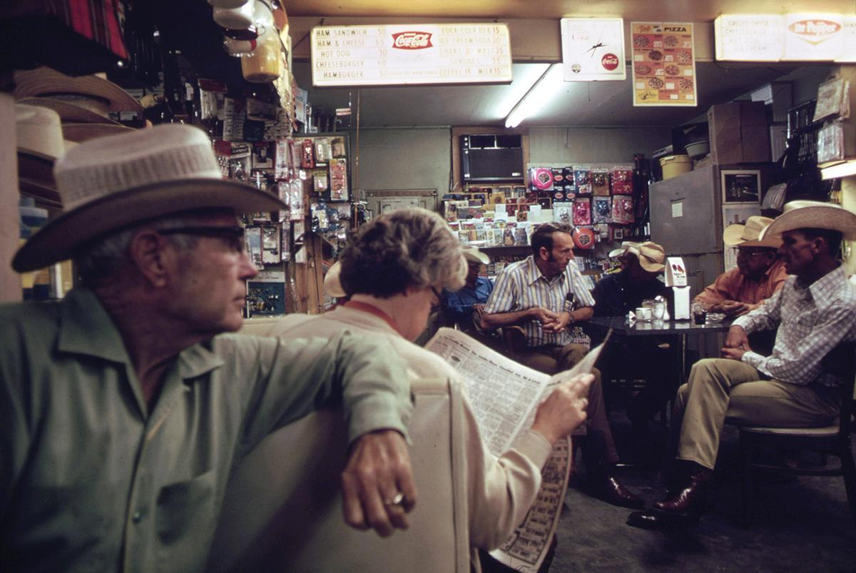 Drugstore in Leakey, Texas, during the noon hour, May 1973.