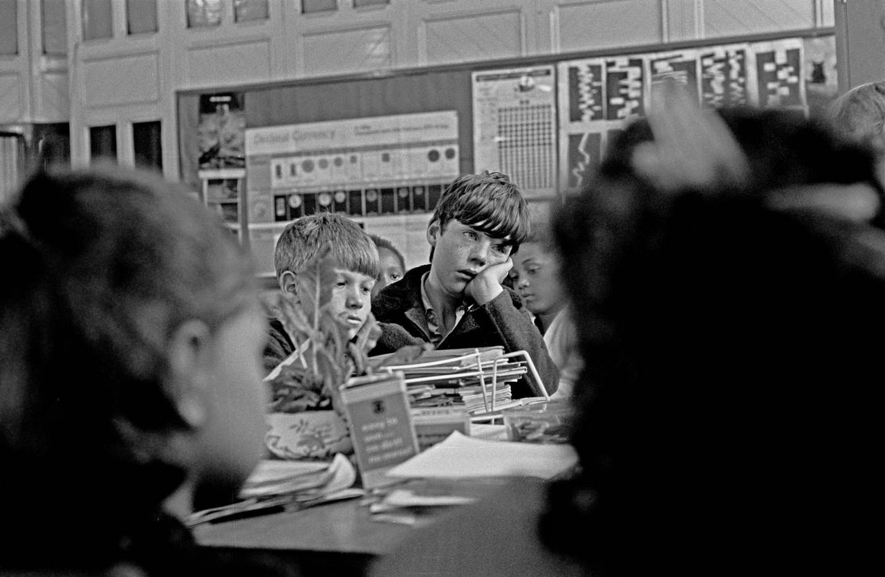 Exhausted pupils in the classroom of an EPA primary school Liverpool 8 1969 187-11a