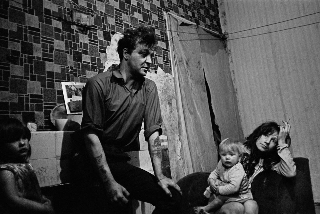 Family in slum housing Newcastle upon Tyne 1971