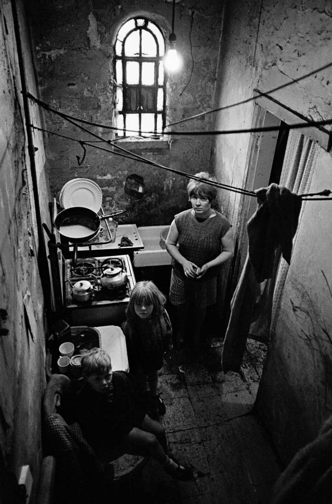 Family in slum property Saltley, 1969