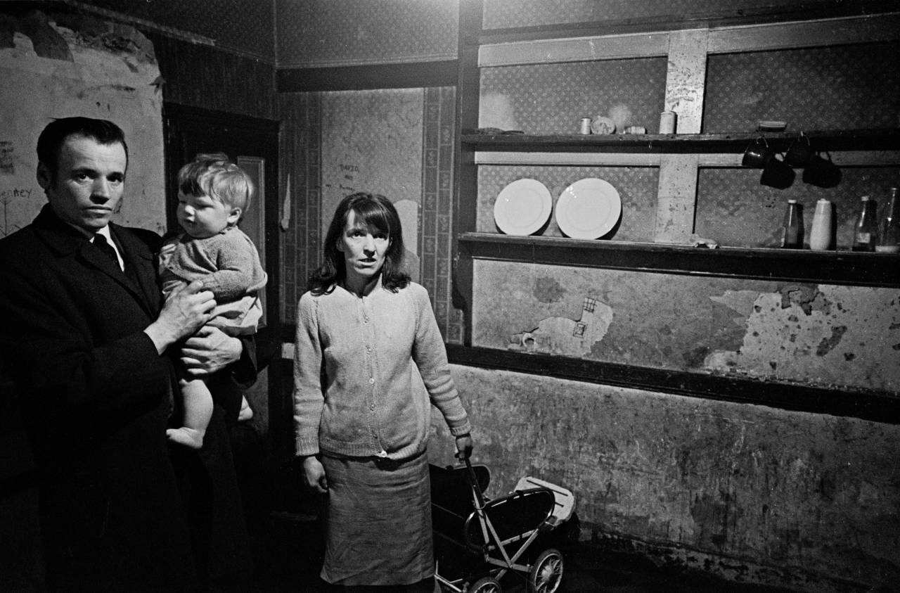 Family in their kitchen, Liverpool 8 1969
