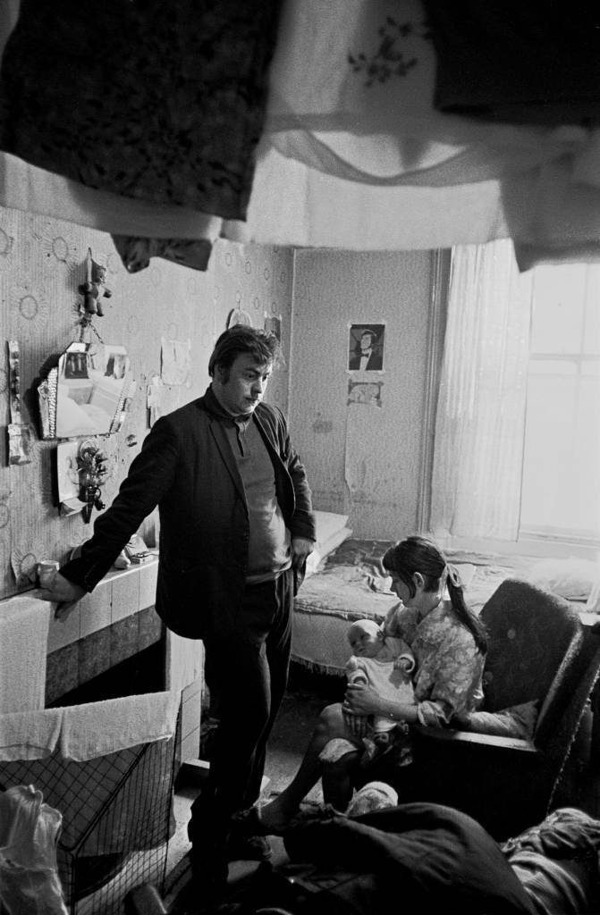 Family living in one room Liverpool 8 1971