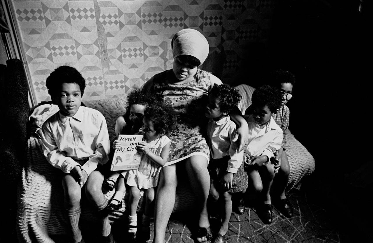 Family living in overcrowded property Balsall Heath 1969