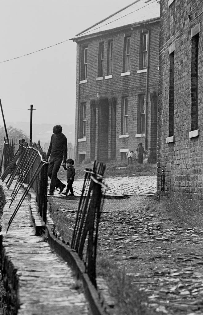 Father and child Bradford terraced street 1972