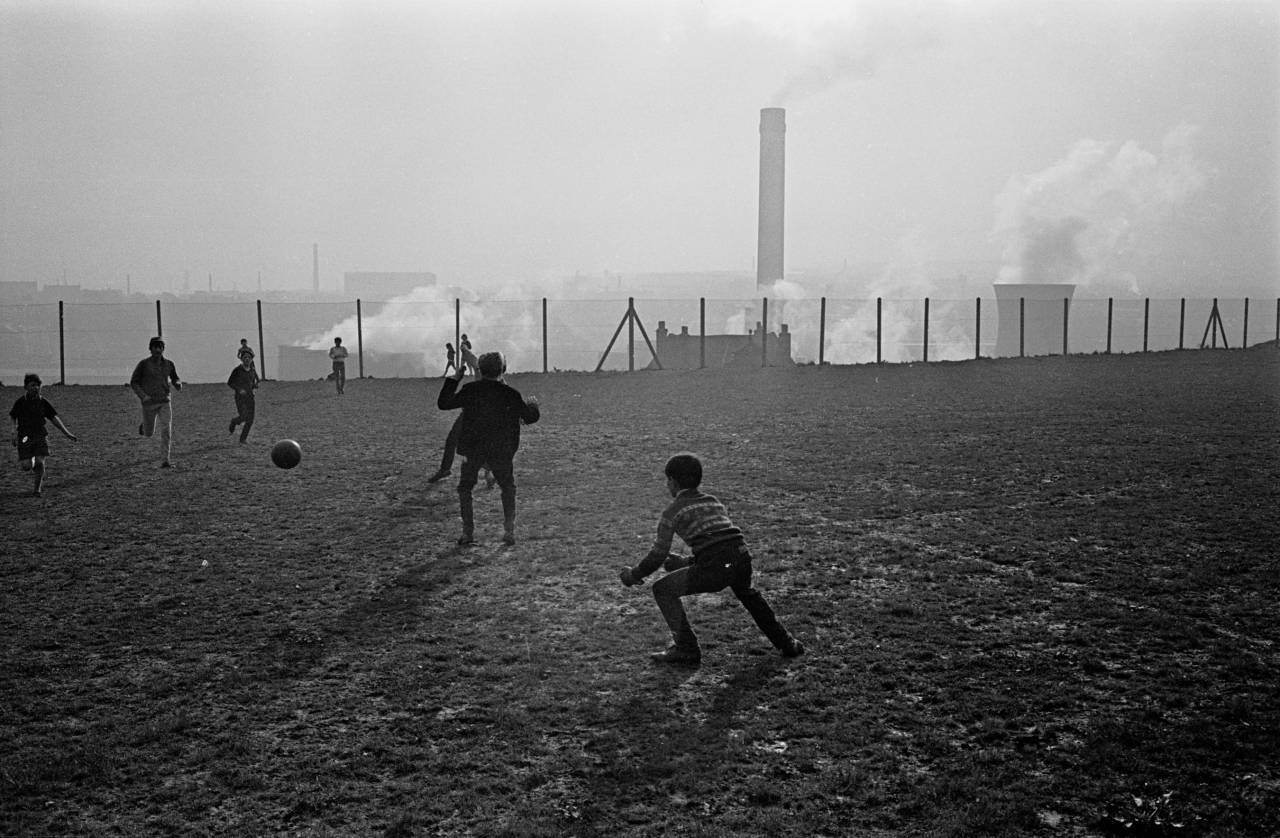 Football above the power station, Bradford 1969