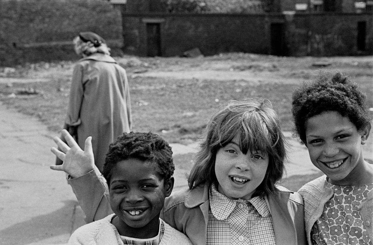 Friends on their way home from school Liverpool 8 1969