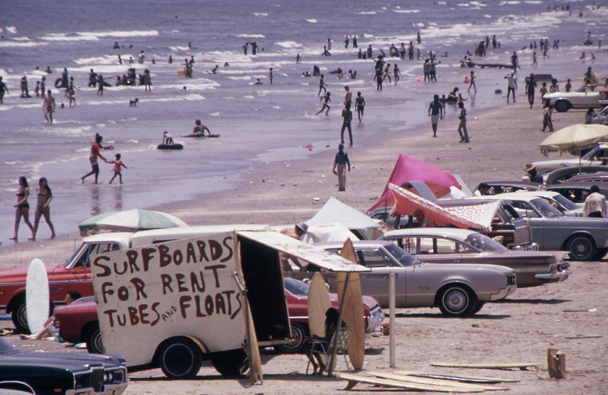 Galveston's West Beach on the Gulf Of Mexico draws huge crowds, July 1972