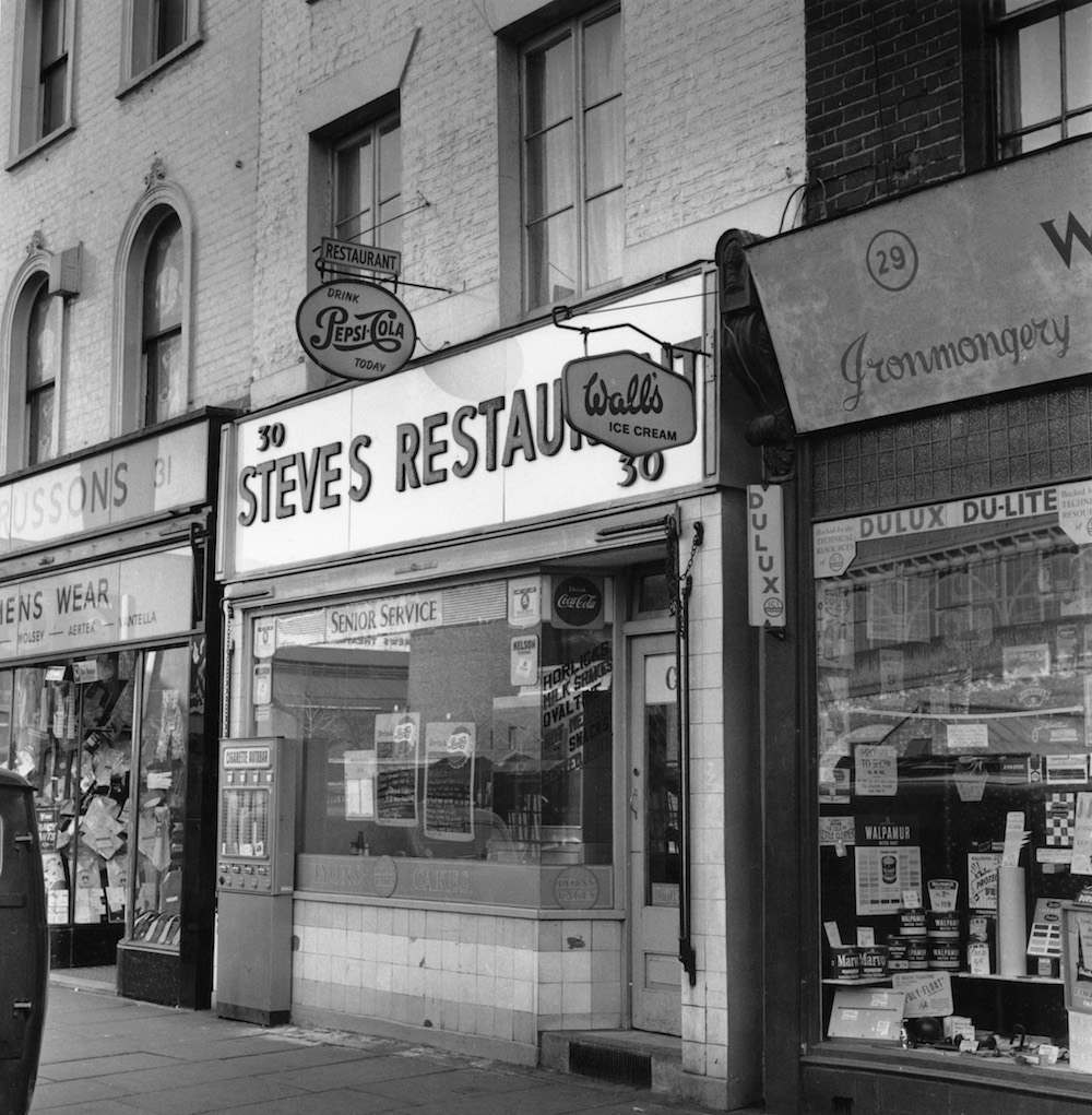 Steve's Restaurant on Lower Marsh, London, 7th February 1961. It was here that Harry Houghton and Gordon Lonsdale, two of the accused in the Portland Spy Ring trial, were said to have met in August 1960 to pass British military secrets to the Soviets. (Photo by Aubrey Hart/Evening Standard/Hulton Archive/Getty Images)