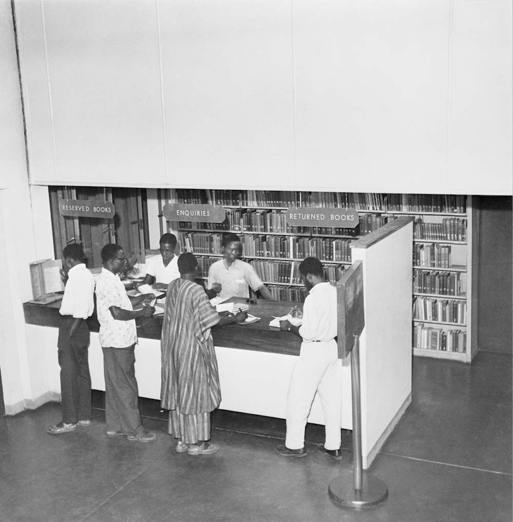 The front desk at the Kenneth Dike Library of the University College of Ibadan, later the University of Ibadan, in Nigeria, cira 1955. (Photo by Three Lions/Hulton Archive/Getty Images)