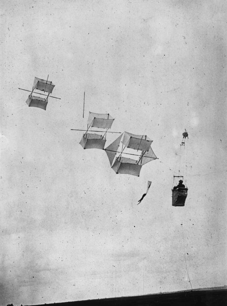 A man flying kite, used for observation purposes. Utilising the Madiot system of man lifters, developed from Cody's design, it proved very effective. Madiot died in an air crash before the system was fully developed.