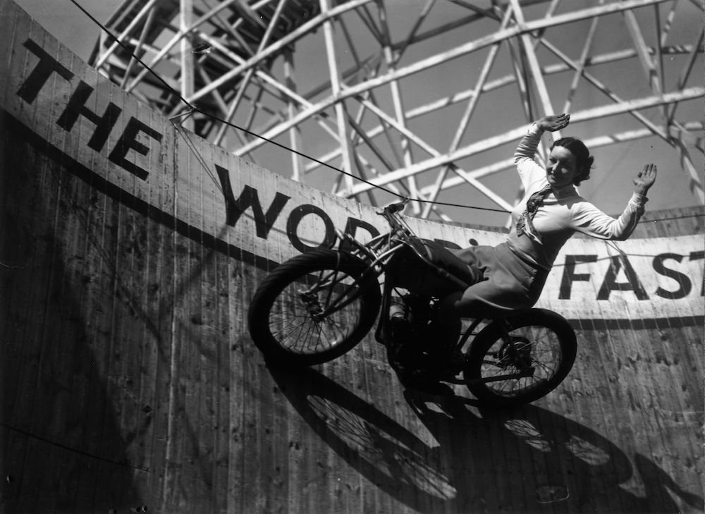 April 1938:  Dixie riding on the wall of death at Southend.  (Photo by Fox Photos/Getty Images)