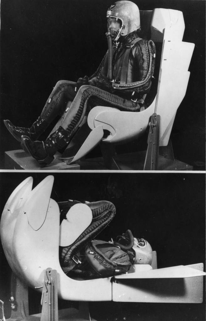7th May 1957:  W B Harwell manager of the production flight for Convair (San Diego) Division of General Dynamics Corporation sits in the normal flight attitude in a mock up of an aerodynamically designed ejector seat. In the lower picture he is rotated 90 deg into a supine position for launching into an airstream.  (Photo by Keystone/Getty Images)