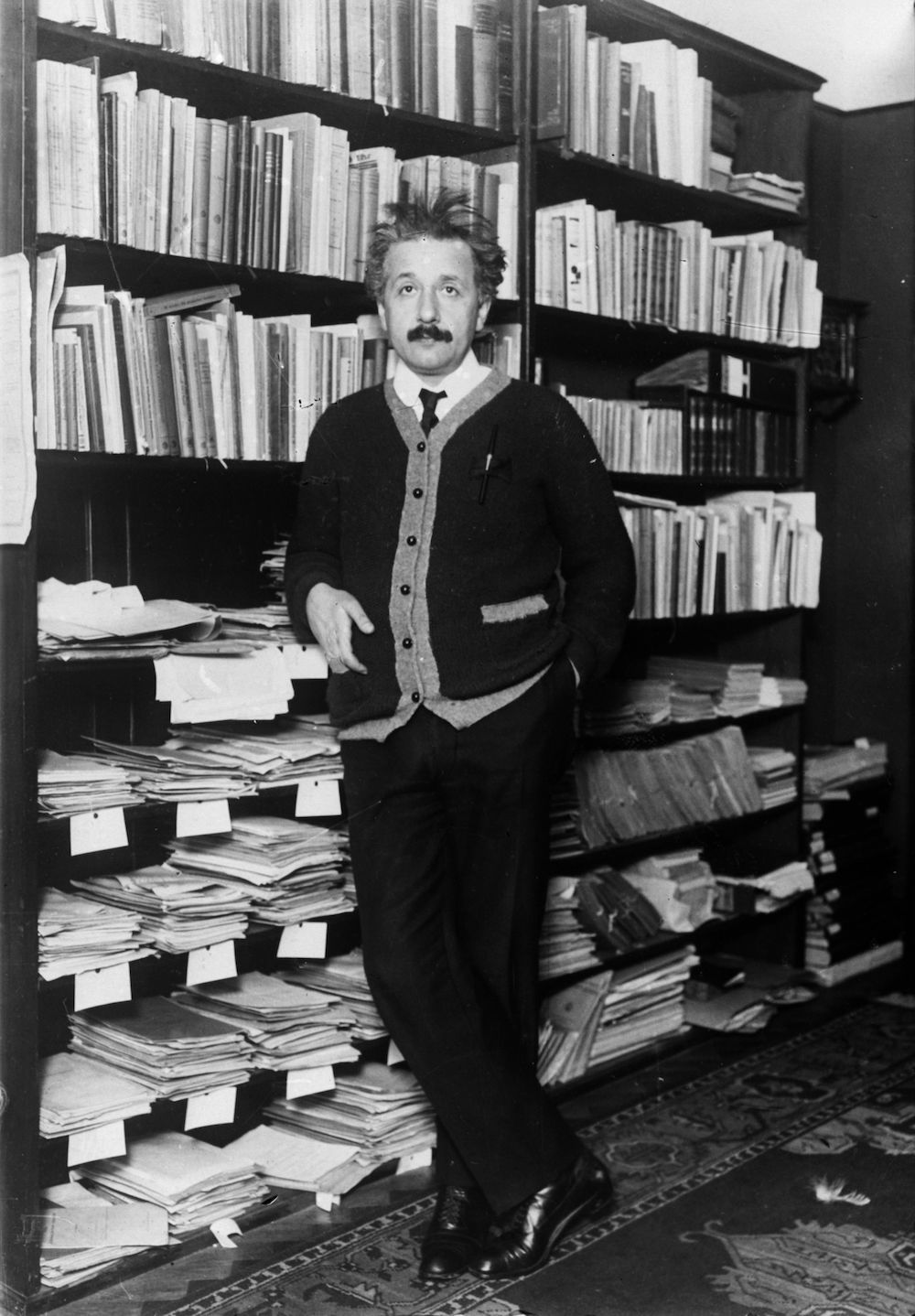 circa 1925: Professor Albert Einstein (1879 - 1955), mathematical physicist at home. (Photo by General Photographic Agency/Getty Images)