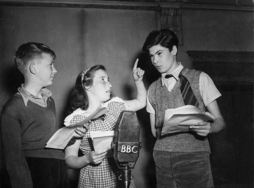 7th June 1948:  L to r; Derek Rock (Ginger), Anthea Askey (Violet Elizabeth) and David Spenser (William) rehearsing 'Just William' a children's comedy adventure series in a BBC studio. Anthea is the daughter of comedian Arthur Askey.  (Photo by Keystone/Getty Images)