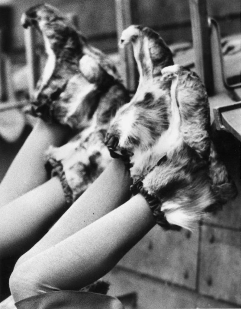 12th december 1938: Ankle length fur bootees worn by Gerd and Turid Bjornstad, champion skating sisters of Norway to keep their feet warm while awaiting their turn at ice-skating championships at Wembley. (Photo by Reg Speller/Fox Photos/Getty Images)