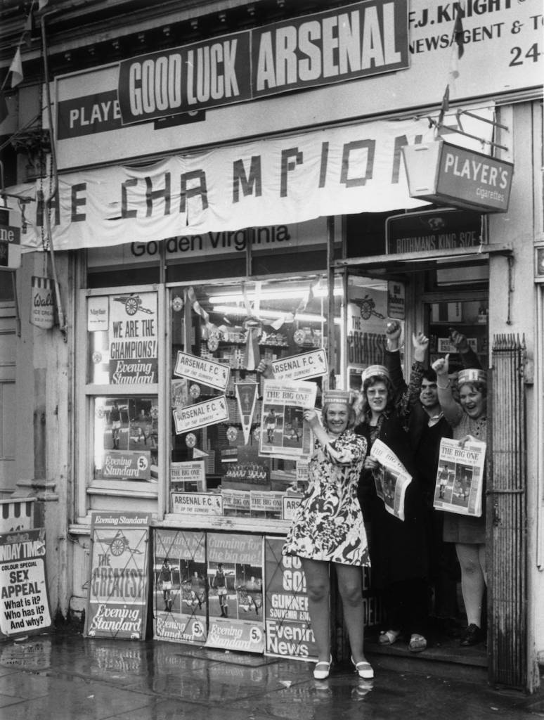 7th May 1971:  F J Knight's newsagent shop in Highbury, near Arsenal's home ground.  (Photo by Evening Standard/Getty Images)