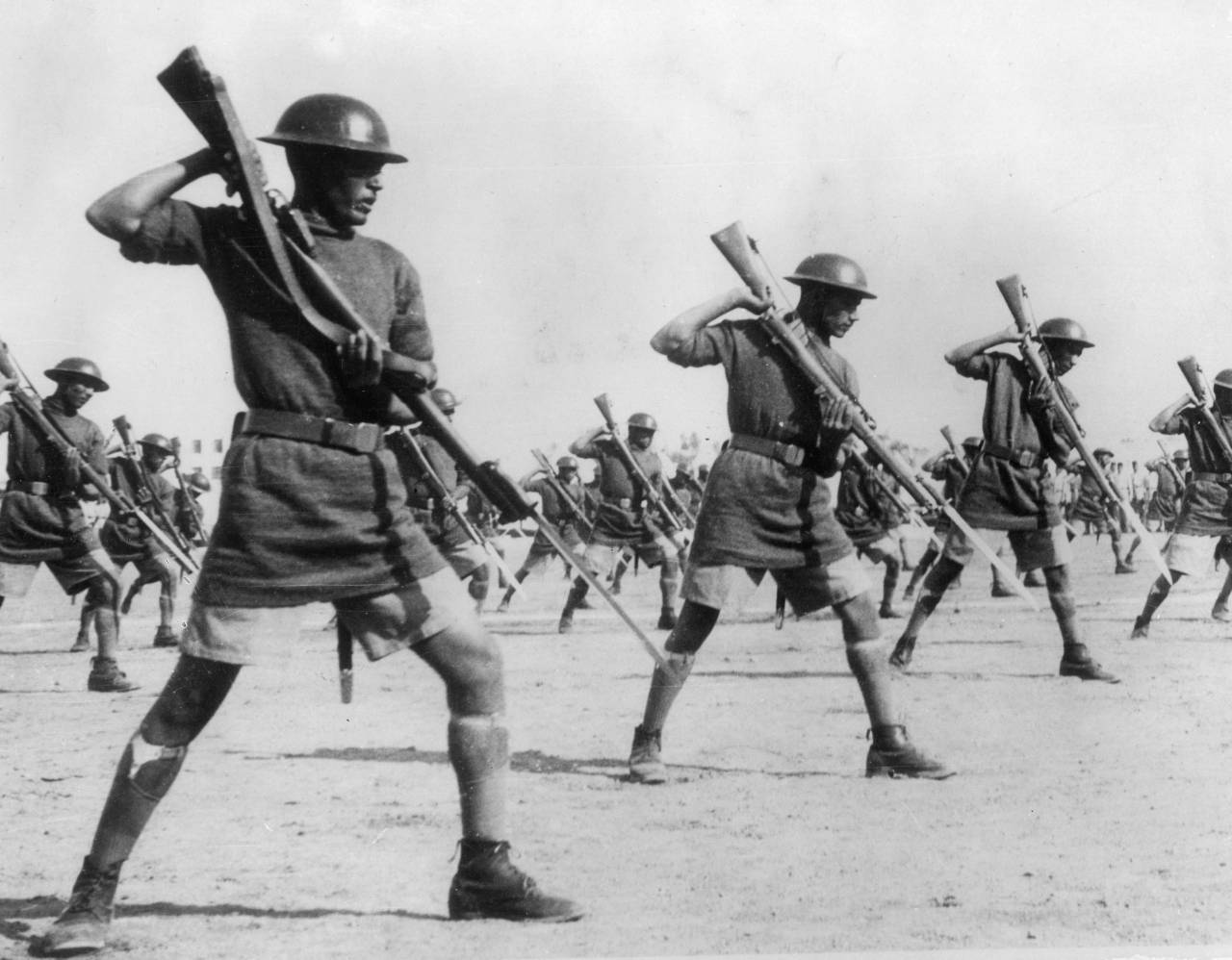 7th August 1940:  Egyptian troops on bayonet drill in their barracks in preparation for an attack by Italy.  (Photo by Keystone/Getty Images)