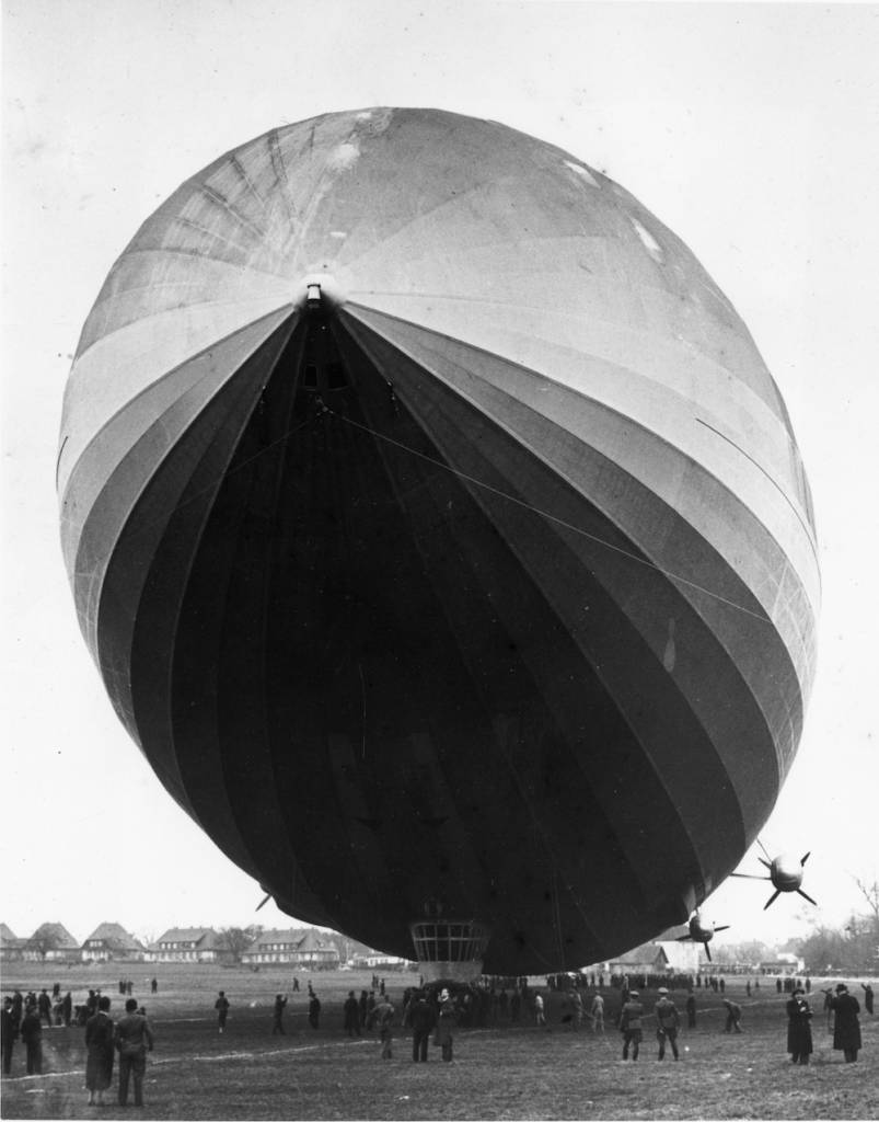 7th March 1936:  Germany's giant hydrogen-filled Zeppelin, LZ-129, the Hindenburg, on a trial flight at Friedrichshafen.  (Photo by Fox Photos/Getty Images)