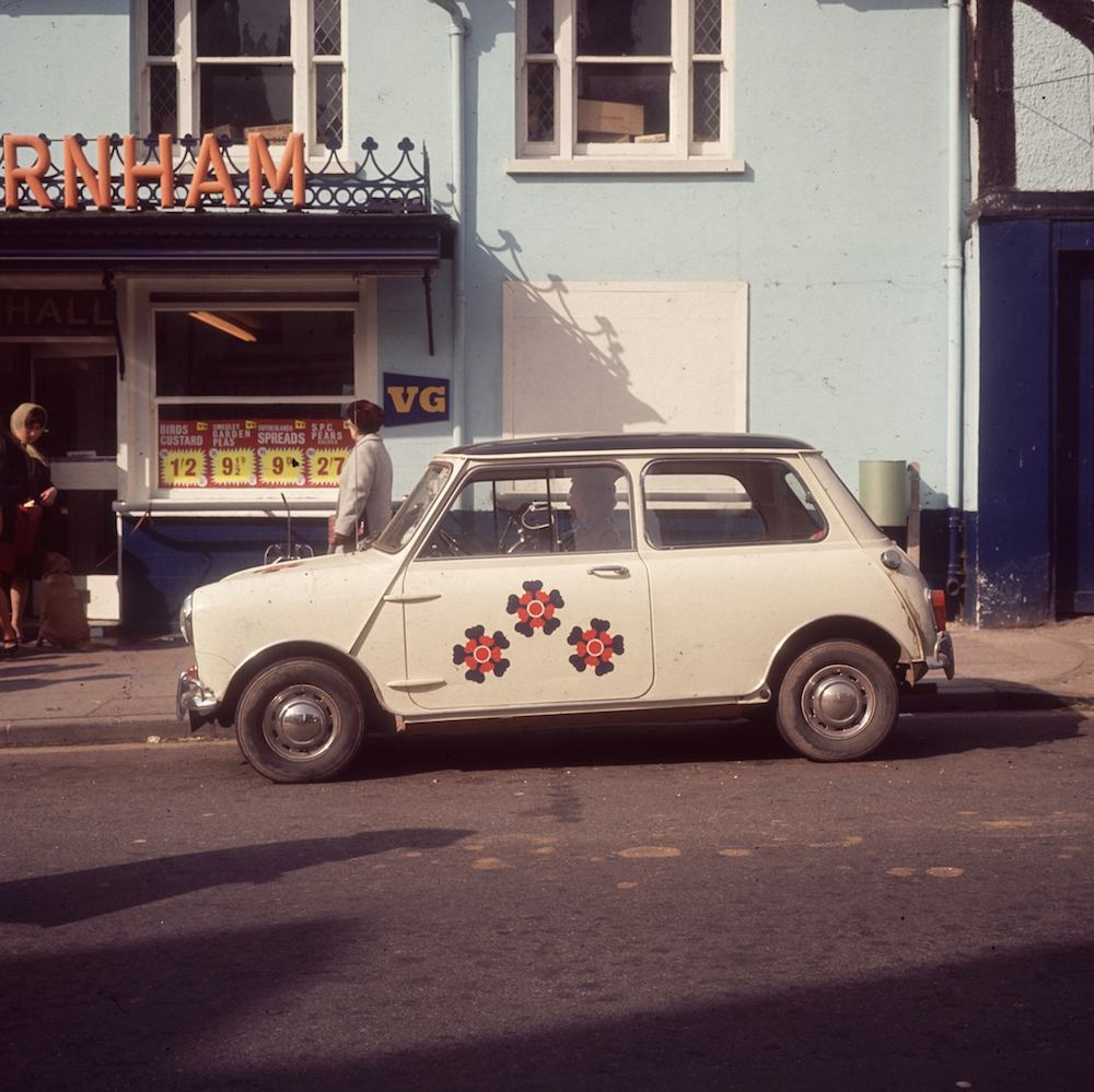 7th April 1967:  A mini with patterns painted on it.  (Photo by Caroline Gillies/BIPs/Getty Images)