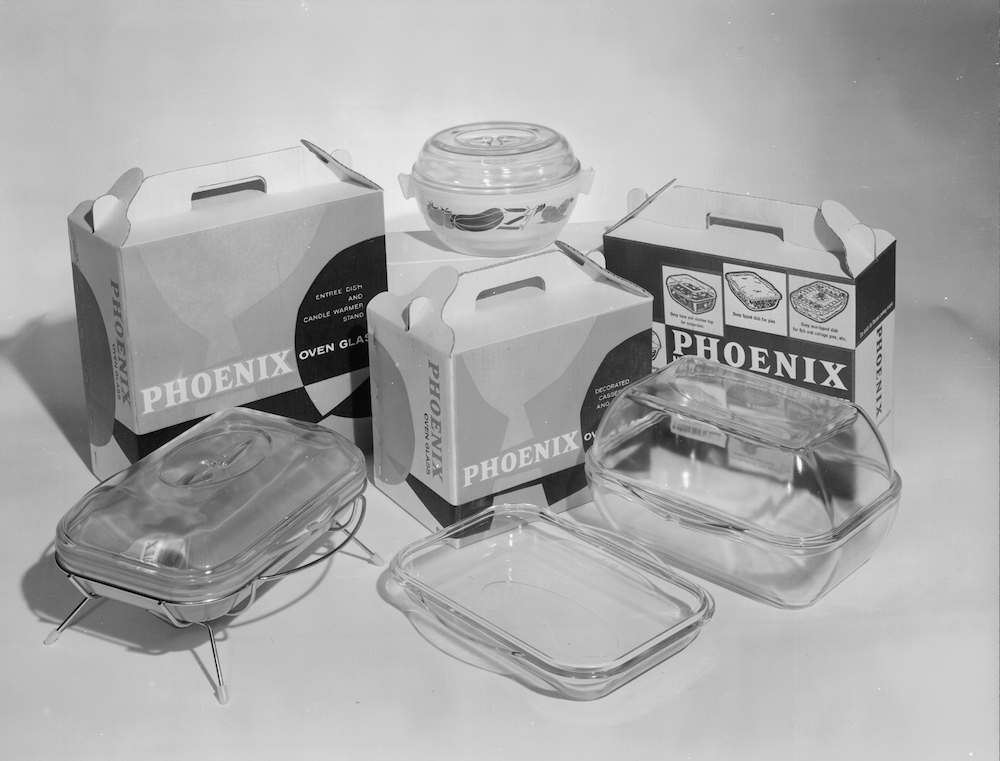 7th October 1959:  A collection of Phoenix oven proof glassware.  (Photo by Chaloner Woods/Getty Images)