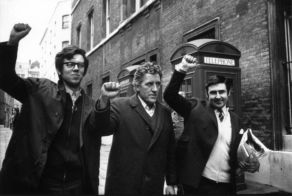7th February 1972:  John Christopher Grey, John Joseph Flavin and Michael Christopher O'Kane outside Bow Street Court. All three were charged with conspiracy after demonstators clashed with police during a protest march at Whitehall over the recent deaths in Londonderry.  (Photo by Michael Webb/Keystone/Getty Images)