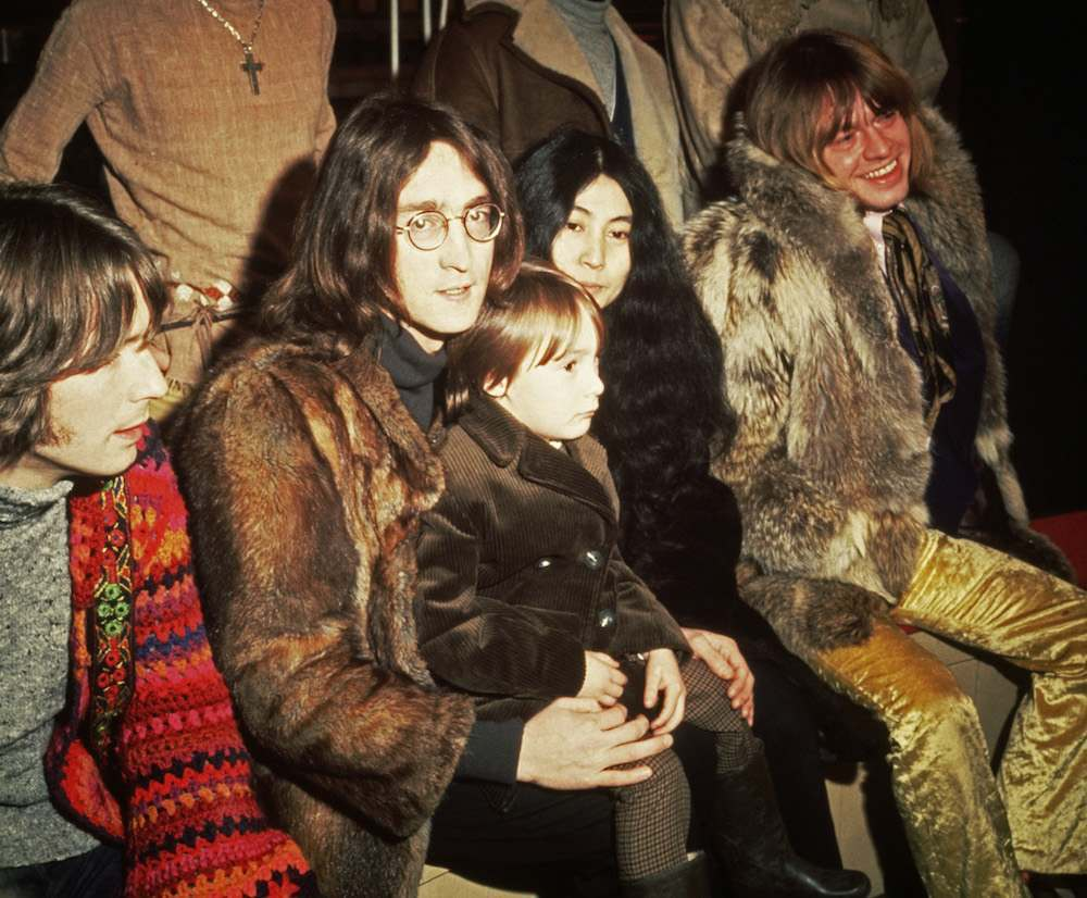1968: British musicians Eric Clapton, John Lennon (1940 - 1980) - with his wife, artist Yoko Ono and his son Julian - and Brian Jones (1942 - 1969) pictured at a press conference for the Rolling Stones' Rock & Roll Circus project. (Photo by Hulton Archive/Getty Images)