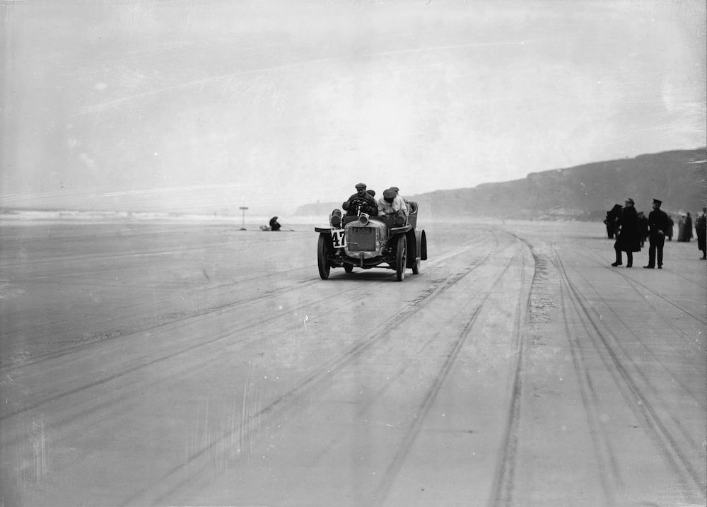 7th November 1907:  HP Wilson (No. 47) driving along Magilligan Strand in an Austin car on the second day of the Irish Auto Club Reliability Trials.  (Photo by Topical Press Agency/Getty Images)