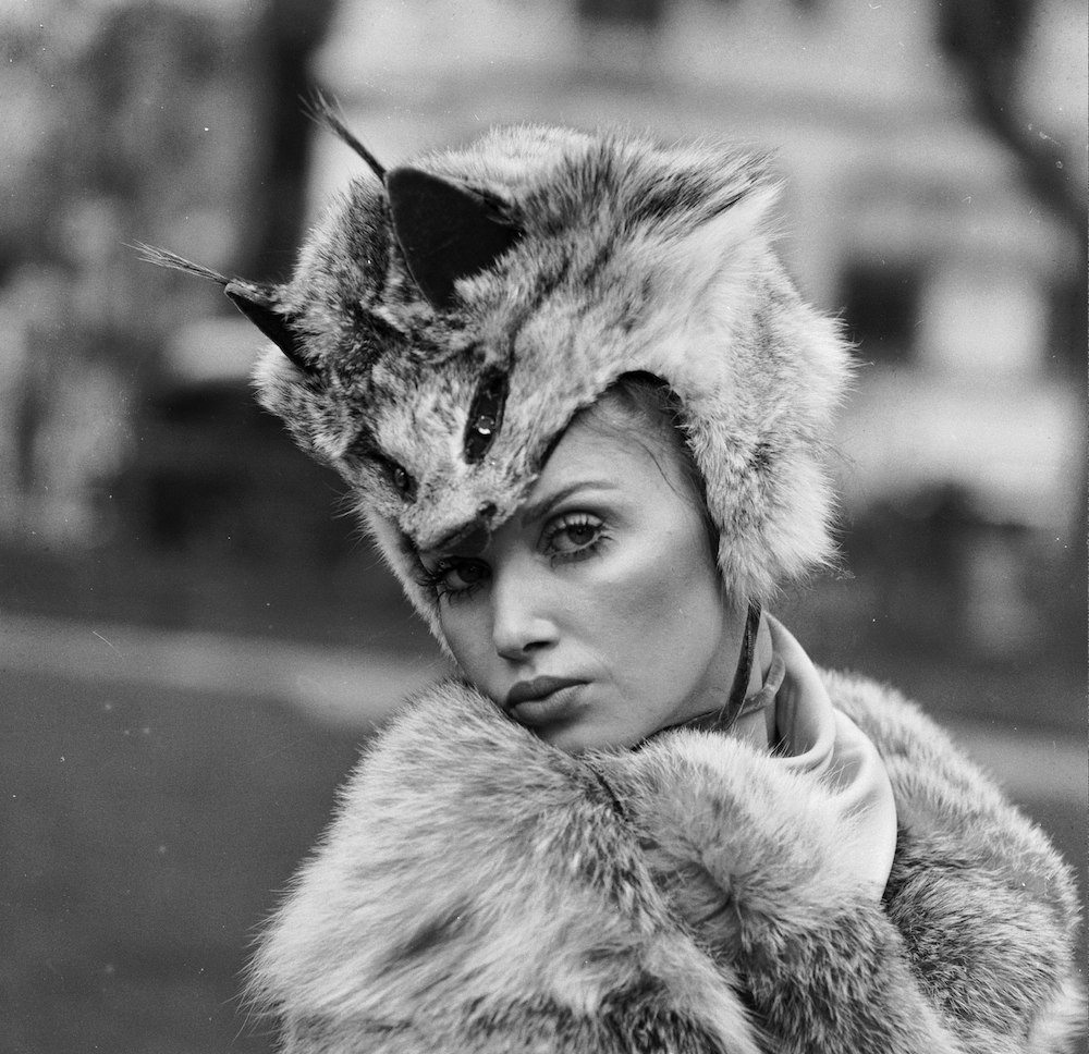 22nd April 1970: A model shows off a 'Cat's Eyes' hat made from Lynx fur designed by Mitzi Lorenz and part of the London Fur Fashion Export Group exhibition. (Photo by Central Press/Getty Images)