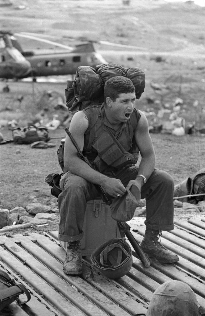 October 1968:  Pfc Carl Aster of the 2nd Battalion of the 7th US Marine Regiment, on duty in Vietnam.  (Photo by Terry Fincher/Express/Getty Images)